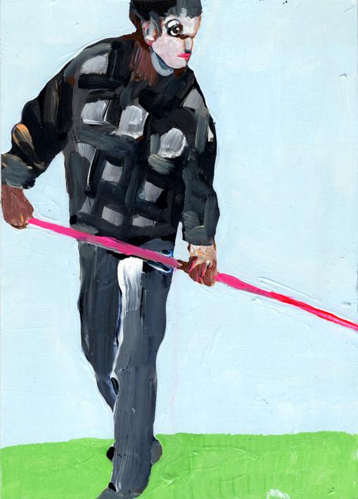 observismus, observism, heiko hoefer, Pole vault, acrylic on paper, 2017