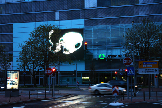 heiko höfer, Ghost Photographs,large led display, facade of the dresdner kleinwort in frankfurt a.m., 2008, photo: heiko höfer