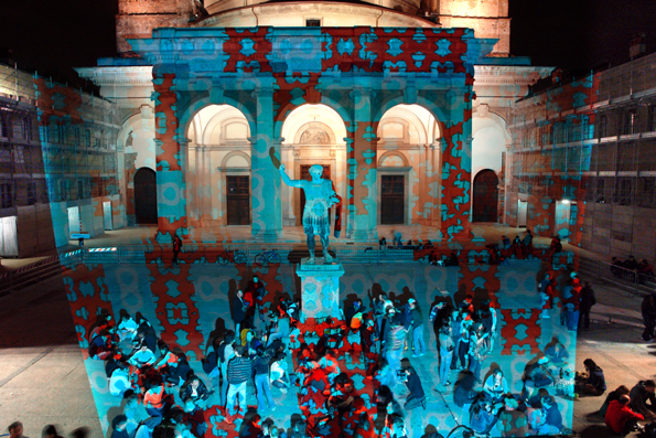 heiko hoefer, Imagine Anagrammi, intervention, image projections, st. lorenzo, milan, 2008