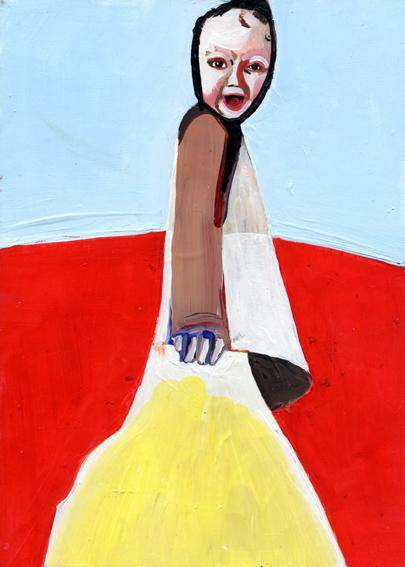 observismus, observism, heiko hoefer, Super baby, acrylic on paper, 2018