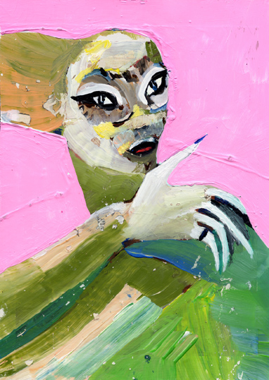 heiko höfer, Liberated barbie, acrylic on paper, 2018