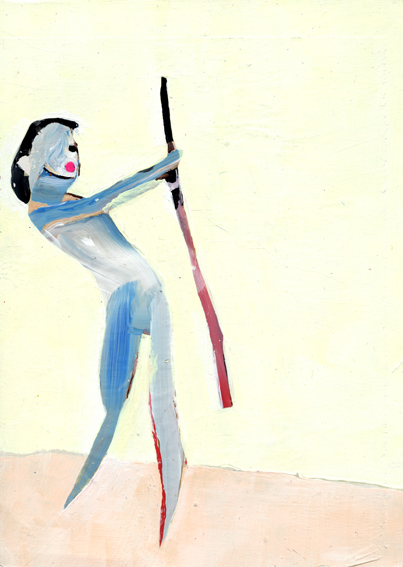 heiko höfer, Gun girl, acrylic on paper, 2019