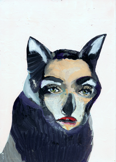 heiko hoefer, Bastet, acrylic on paper, 2019
