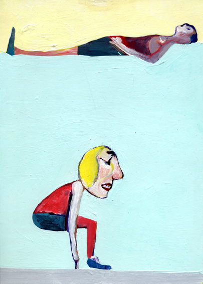 heiko höfer, Social distancing, acrylic on paper, 2020