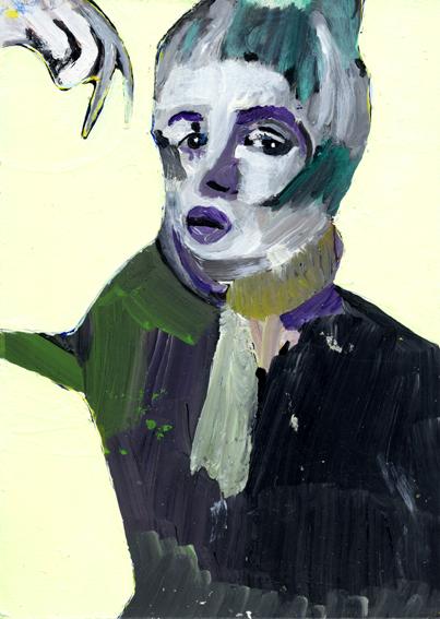 heiko höfer, Bat woman, acrylic on paper, 2020