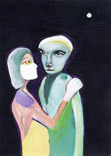 heiko höfer, Pale blue dot, acrylic on paper, 2020