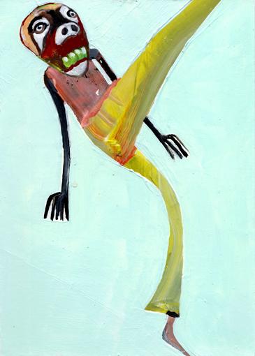 heiko höfer, Weird move, acrylic on paper, 2020