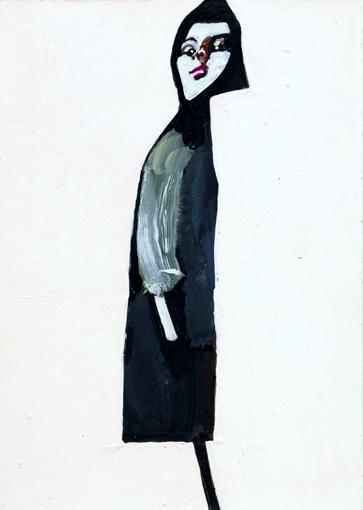 heiko höfer, Sidewalk prophet, acrylic on paper, 2020